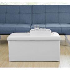 [en.casa] Panca bianco 76x38x38cm Sgabello Box Contenitore Cassapanca