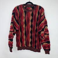 Protégé Men's 90's Coogi Inspired Sweatshirt Vintage Cosby Muticolor Red Size L