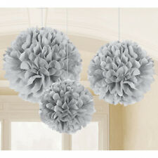 3 Large Silver Paper Fluffy hanging decorations tissue Pom Poms Party Decoration