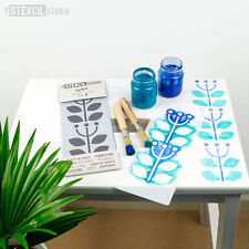Sanna Fiore Bordo Stencil Minis-Furniture & Craft Stencil-lo stencil Studio