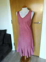 Ladies PER UNA Dress Size 16 Pale Red Linen Smart Casual Day Party Summer