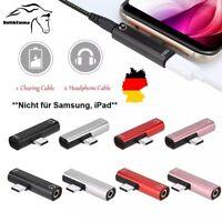 ✅ USB Typ C 2 in 1 Adapter Audio Ladekabel 3,5 mm AUX Klinke Kopfhörer USB-C DE✅