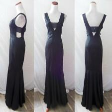 NEW BLACK Ribbed TEXTURED Plunging Neck Lace CUT OUT Evening MERMAID GOWN S