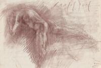 MALE NUDE Figure Back Study 8x12 Red Chalk Original Drawing Sketch MODERN ART
