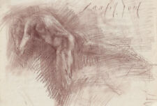 MALE NUDE Figure Back Study 8x12 Red Chalk Old Master Style Original Drawing ART