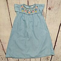 Carters Girls Blue Chambray Floral Shift Dress Flutter Sleeve Size 6X