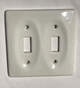Wall Double Switch Plate White Ceramic Double Toggle Switch Smooth Finish