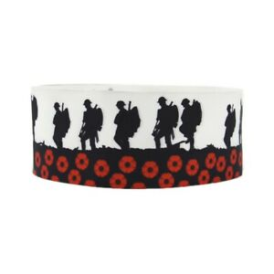 1 METRE SOLDIER + HORSE POPPIES REMEMBRANCE RIBBON SIZE 1 INCH CARD MAKING