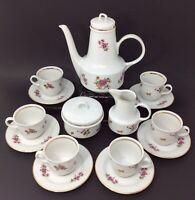 Vintage Henneberg Porcelain Espresso Demitasse Complete Set For 6 E. Germany GDR