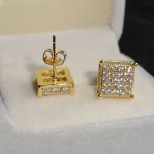 1db63510e Men's LUXURY Pave 10mm Sim Diamonds 18K Yellow Gold Filled Square Stud  Earrings
