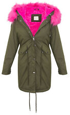 Ladies Winter Jacket Parka Elegant Faux Fur Warm Blue Khaki D-239 NEW