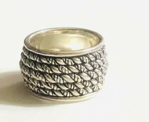 JAI JOHN HARDY 925 STERLING SILVER WIDE ROPE CABLE RING CZ 5.5-6 RARE!