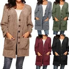 Womens Knitted Sweater Buttom Cardigan Coat Jacket Winter Warm Outwear Plus Size