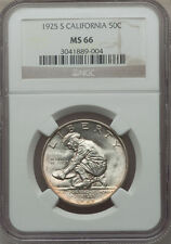 U.S. 1925-S CALIFORNIA HALF-DOLLAR SILVER UNCIRCULATED COIN CERTIFIED NGC-MS66