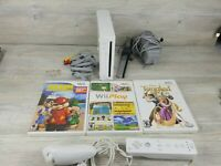 Nintendo RVL-001 Wii Console - White Bundle with controller and 3 Games TESTED