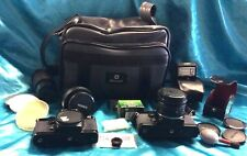 Contax 139 Camera bundle w/ several lens,caps,a case, filters, flash w/case more