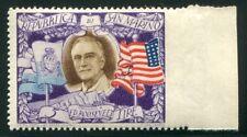 1947 San Marino Roosvelt 5 lire varietà non dentellato a destra nuovo * tl MLH