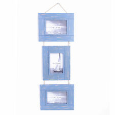 "Shabby Chic Nautical Blue Wooden 68cm Triple Hanging 4x6"" Photo Frame"