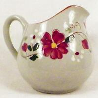 Stangl Garland Cream Pitcher Creamer Redware Pottery Gray Glaze Red Flowers NICE