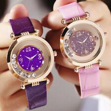 Moda semplice Flowing Diamond Perline In pelle Quartz Orologio Wristwatch Regalo