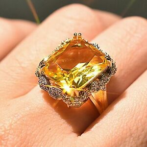 4CT Radiant Cut Yellow Citrine Gorgeous Halo Engagement Ring 14K Yellow GoldOver