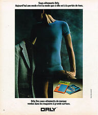 PUBLICITE ADVERTISING 084  1975  ORLY  sous vetements slip de marque homme