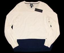 NWT TOMMY HILFIGER Womens Sweater L Colorblock Blue Cream Cotton Cashmer Jumper