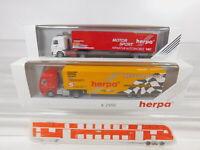 CA285-0,5# 2x Herpa 1:87/H0 Sattelzug Scania: 821013 + 822054, sehr gut+OVP