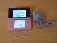 Nintendo 3DS Pink Handheld Console with Power Supply and Replacement Stylus