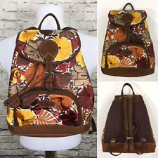 Guatemala Leather Mayan Adjustable Backpack Bag Hand Made Floral Brown NEW