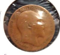 CIRCULATED, G IN GRADE, 1909 1/2 PENNY UK COIN (22615)