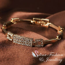 18K Yellow Gold  Plated Simulated Diamond Sparkling Rectangle Strip Bracelet