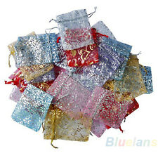 Mix Color 25x Organza Jewelry Wedding Small Gift Pouch Bags 7x7cm 3X3 Inch B65U