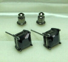 Men Black Plated Stud Earrings W 6mm Princess Cut Onyx