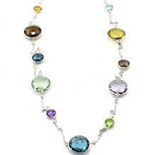 14K White Gold Necklace With Diamonds And Gemstones By The Yard 36 Inches