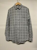 MENS TOPMAN BUTTON UP LONG SLEEVED SMART CASUAL SHIRT S SMALL GREY SOFT COTTON