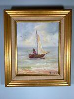 Oil Painting Original Signed Vintage professional frame sailboat Ocean seascape
