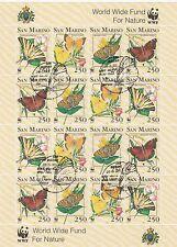 SAN MARINO francobolli usati 1993 foglietto BUTTERFLY FARFALLE 1993  ANNULLO FDC