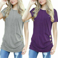 Women's solid Color O Neck Loose Short Sleeve Casual Blouse Shirt Tops Vest