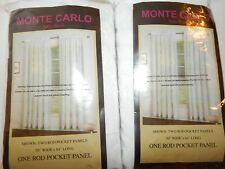 Monte Carlo 2 Panels Pair Sheer Voile White 59x84 Rod Pocket Pair Set New