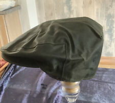 BARBOUR, WAX COTTON OLIVE GREEN UNISEX FLAT CAP. SIZE 56cm. Condition Used