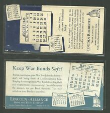 2 1945 Ink Blotters Lincoln Alliance Bank & Trust Co. Lincoln Rochester