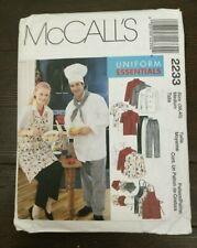McCalls M2233 Chef Restaurant Uniform Unisex Jacket Shirt Apron Pants Hat 38-40