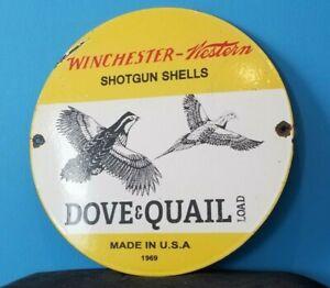VINTAGE WINCHESTER PORCELAIN WESTERN BIRD LOAD HUNTING SHOT GUN SHELLS SIGN