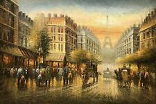 paysage rue de Paris tableau peinture huile sur toile signée / cityscape Paris s