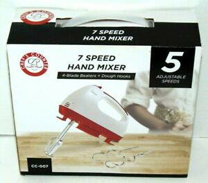 7 Speed Portable White & Red Hand Mixer W/ Blade Beaters & Dough Hooks NIB NEW