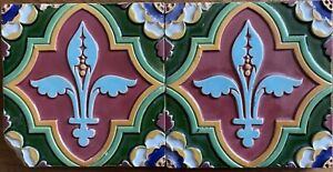 Superb moulded and inlaid antique Majolica two tile panel by Minton & Co