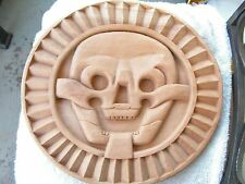 AZTEC DEATH OF DISC WOOD CARVED NOT STAIN 14 INCH HIGH WIDE 15 NEW.