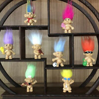 80/'s vintage figurine yellow hair troll american footballer 7x5cm