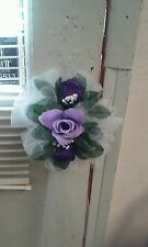 White Wedding Bows Set Of 12 bows With Lav & Purple Flowers (Tulle) For Pews